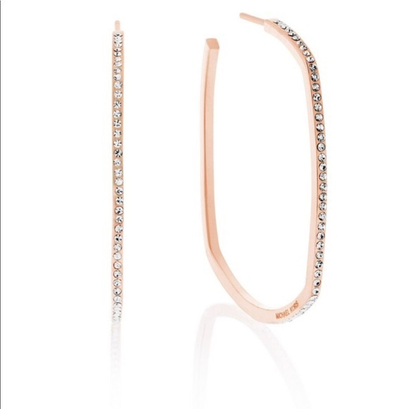 9bf851372e7b Authentic MK rose gold tone pave square earrings